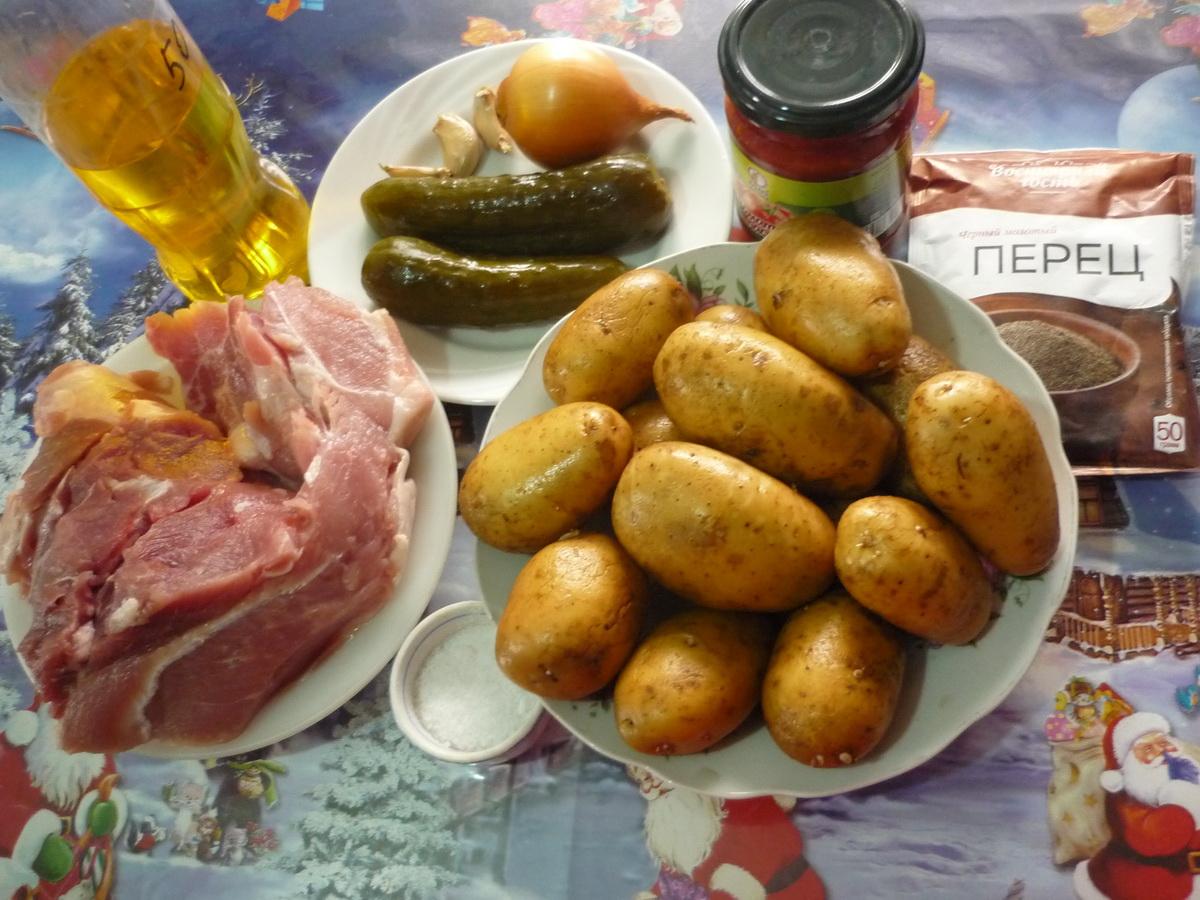 Азу из свинины с картошкой. Ингредиенты