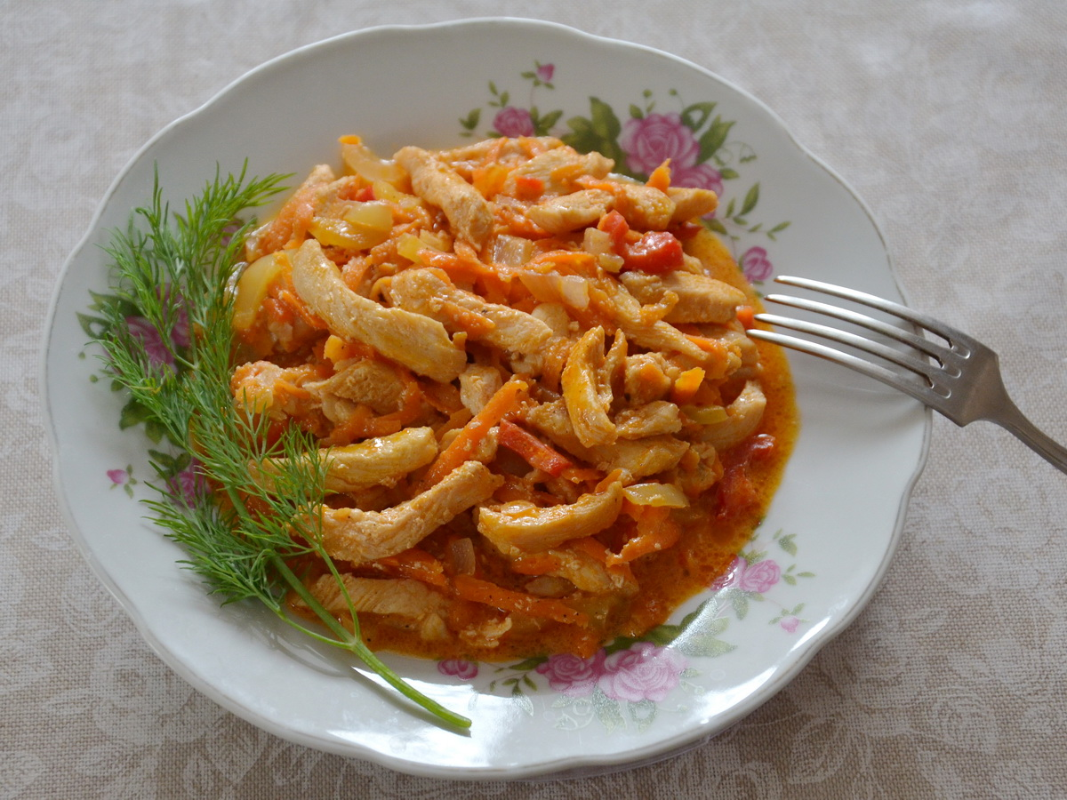 Фрикасе из курицы с грибами в сливочном соусе пошаговый рецепт