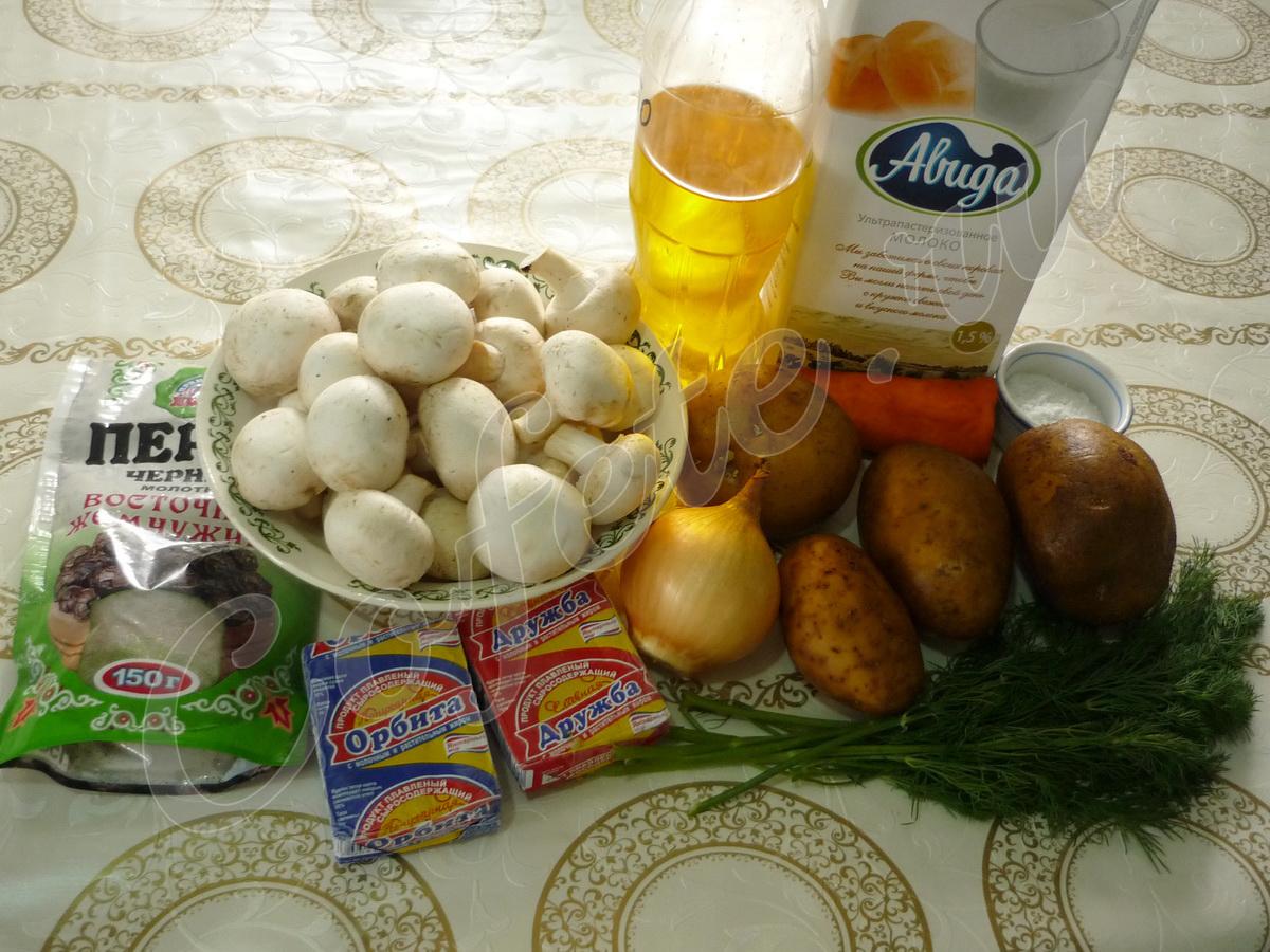 Ингредиенты сливочного грибного супа