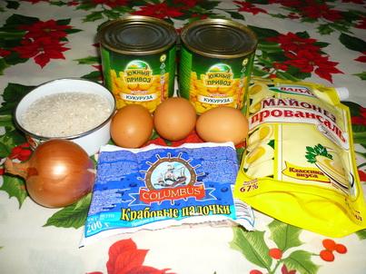 Ингредиенты крабового салата