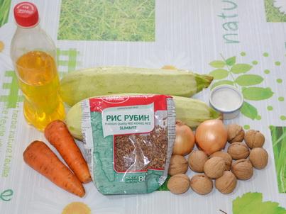 Ингредиенты красного риса с овощами