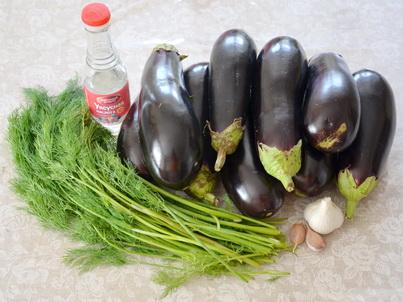 Ингредиенты маринованных баклажанов