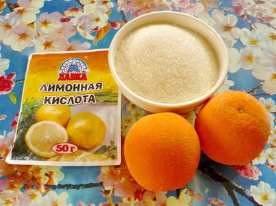 Ингредиенты напитка из апельсинов