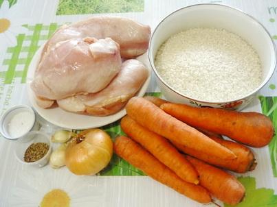 Ингредиенты плова из куриного филе