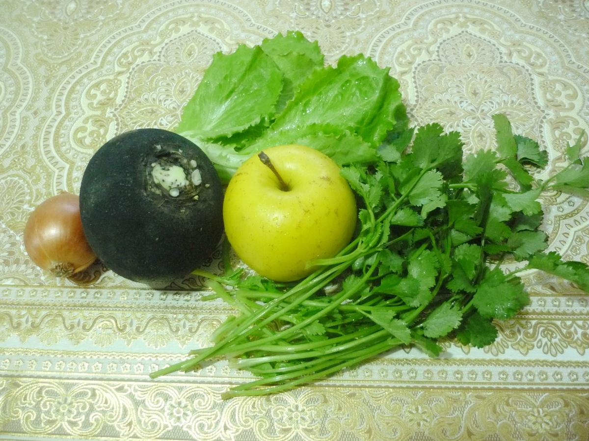 Ингредиенты салата из чёрной редьки