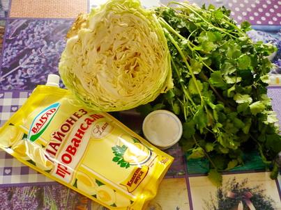 Ингредиенты салата из ранней капусты