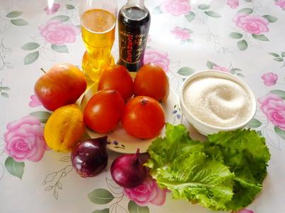 Ингредиенты салата с хурмой