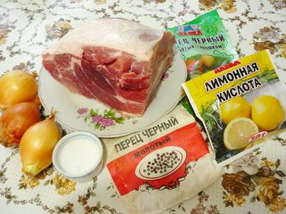 Ингредиенты шашлыка на сковороде
