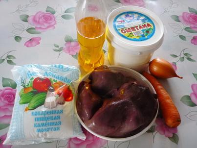 Ингредиенты свиной печени в сметане