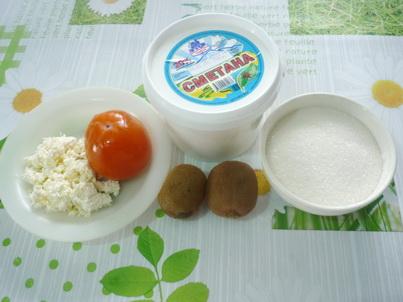 Ингредиенты творожно-фруктового десерта