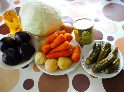 Ингредиенты винегрета со свежей капустой
