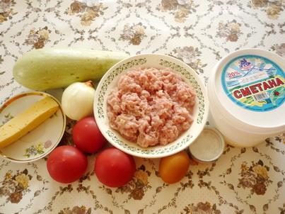 Ингредиенты запеканки из кабачков