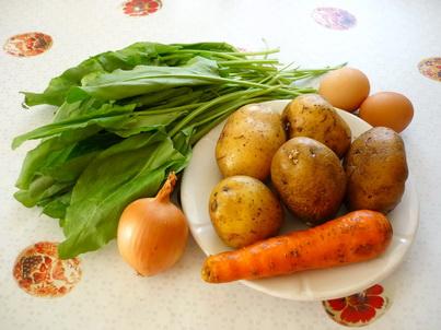 Ингредиенты зелёного борща