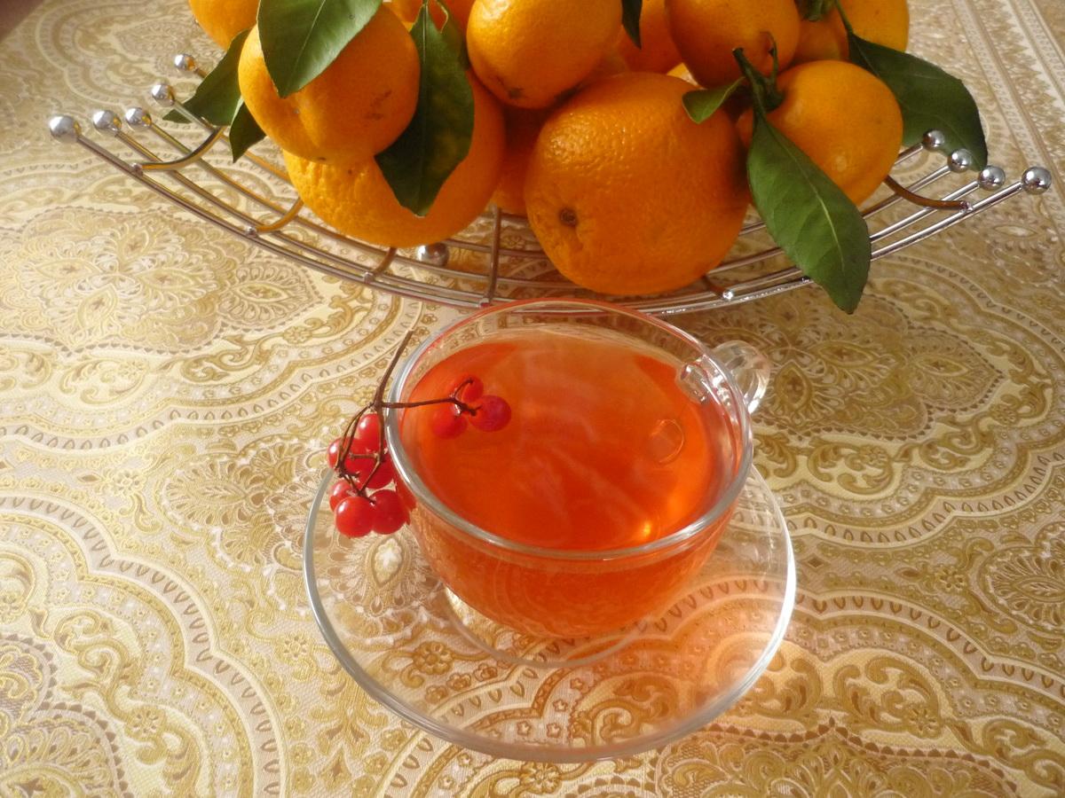 Калиновый чай на фоне апельсинов