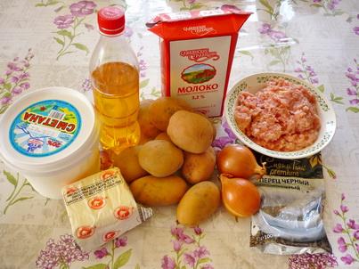 Ингредиенты картофельной запеканки с мясным фаршем