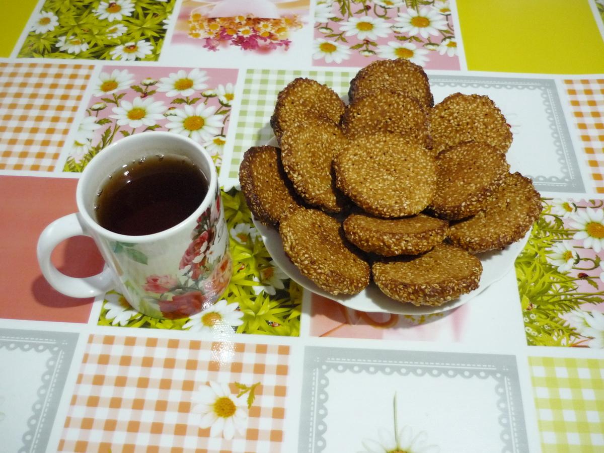 Кунжутное печенье к чаю