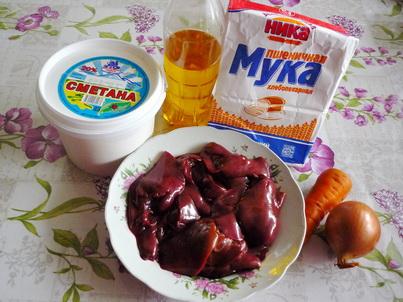 Куриная печень в сметанном соусе. Ингредиенты