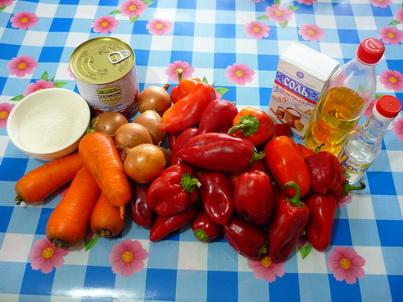 Лечо с томатной пастой. Ингредиенты