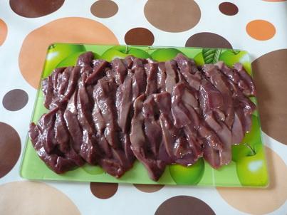 Нарезанная свиная печень
