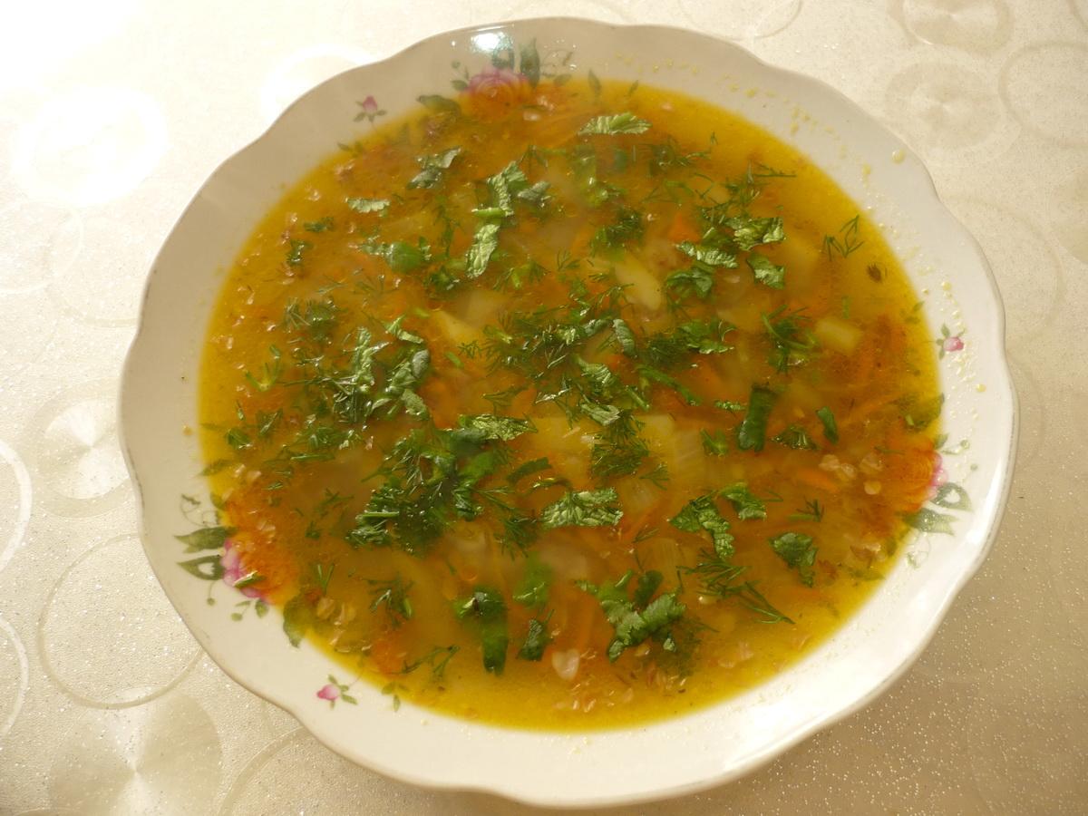 Тарелочка постного гречневого супа