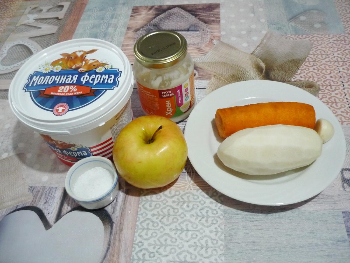 Салат с морковью и хреном. Ингредиенты