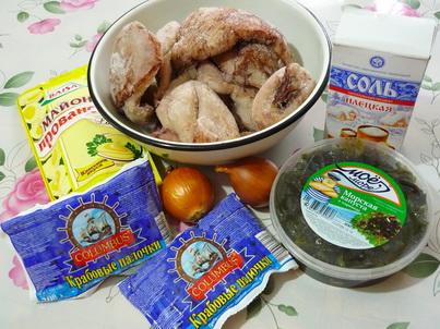 Салат с кальмарами и морской капустой. Ингредиенты