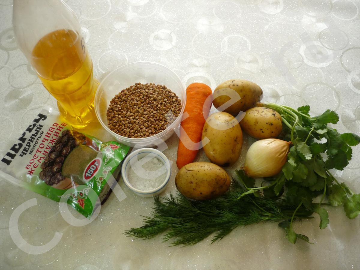Ингредиенты постного гречневого супа
