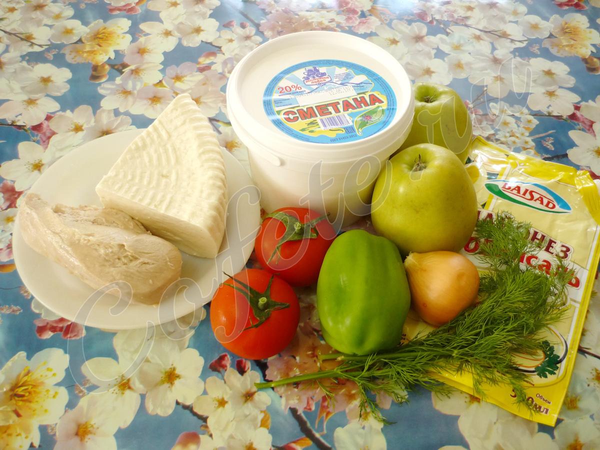 Ингредиенты салата из брынзы