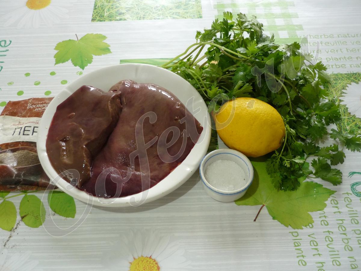 Ингредиенты запечённой свиной печени