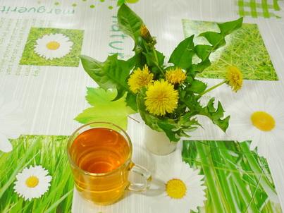 Стакан одуванчикового чая
