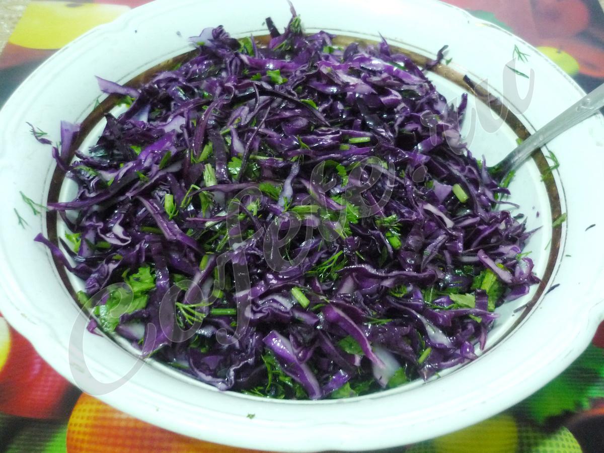 Тарелка салата из красной капусты