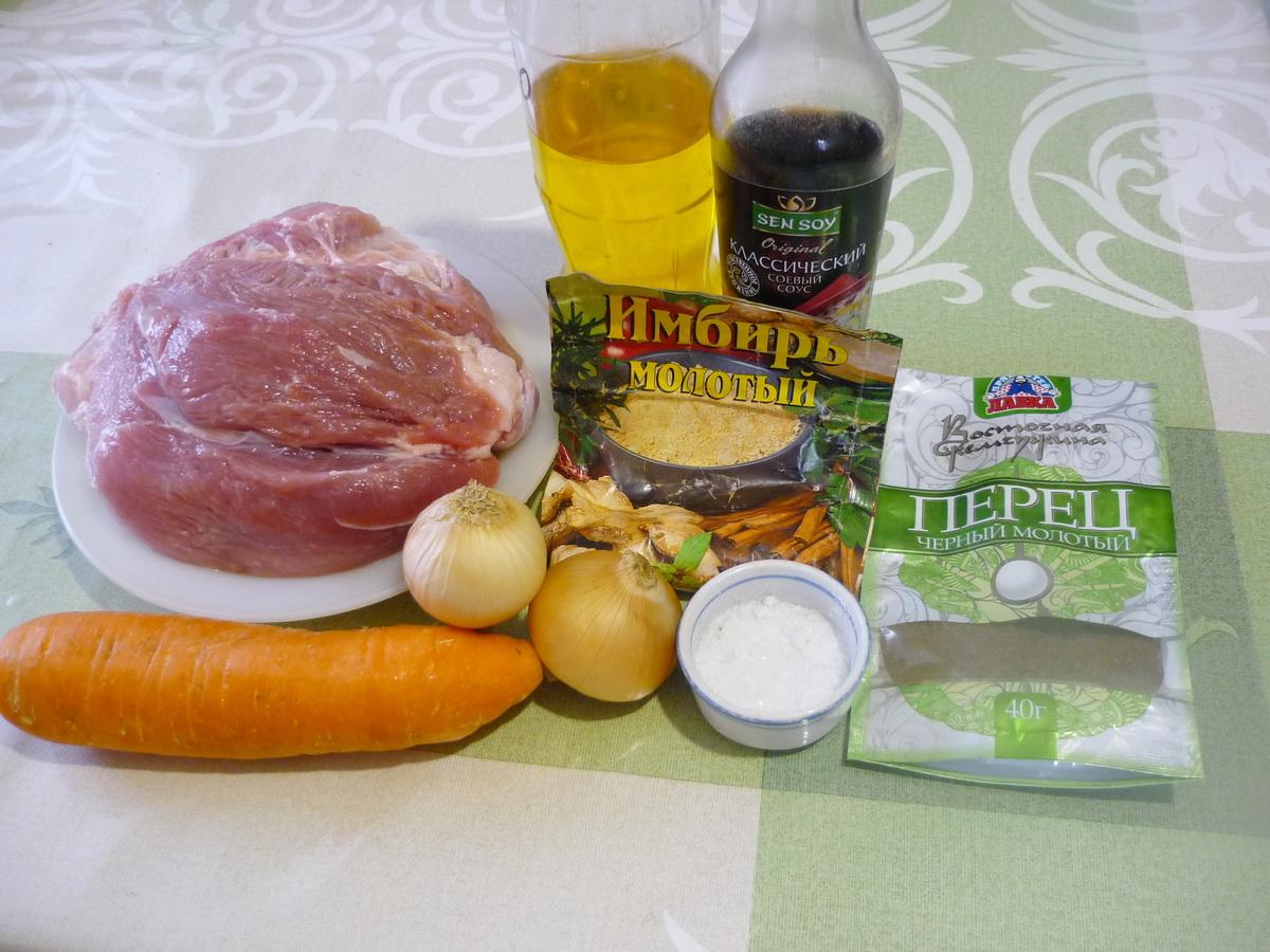 Тушеная свинина в соевом соусе. Ингредиенты